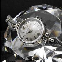 モバード ギャルト ダイヤ装飾 14KWG 楔形インデックス プリズム風防 レディースアンティークウオッチ