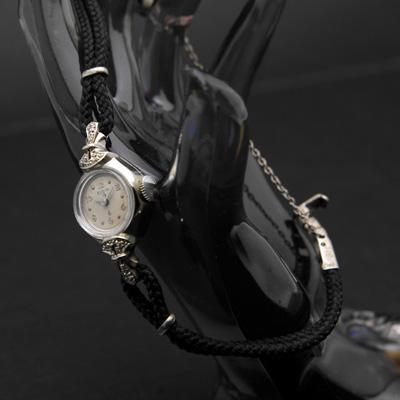 エルジン ダイヤ装飾 10KWG 飛びアラビア数字インデックス レディースウオッチ 分解掃除済み