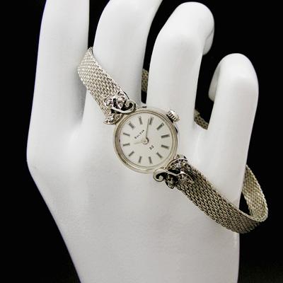 ブローバ ダイヤ装飾 14KWG バーインデックス レディースウオッチ