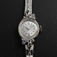 レディー・エルジン ダイヤ装飾 14KWG レディースウオッチ