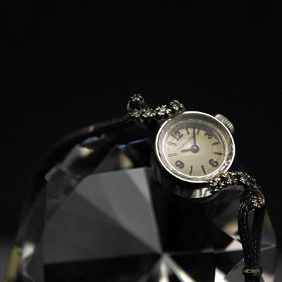 ロンジン アールデコデザイン ダイヤ装飾 14KWG アンティーク 手巻き レディースウオッチ
