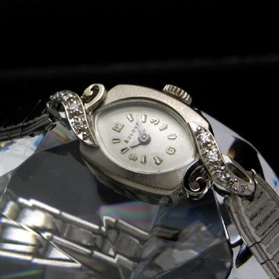 ブローバ ダイヤ装飾 14KWG アールデコデザイン アンティーク 手巻き レディースウオッチ 分解掃除済み
