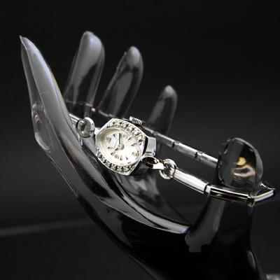 ロンジン ダイヤ装飾 14KWG アンティーク 手巻き レディースウオッチ 3・6・9・12インデックス