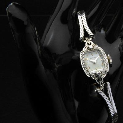 ハミルトン 14KWG ダイヤ装飾 偶数時アップライトインデックス レディースアンティークウオッチ