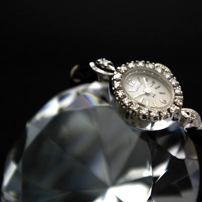 ハミルトン レディーハミルトン レディースアンティークウオッチ ダイヤ装飾 14KWG OH済み