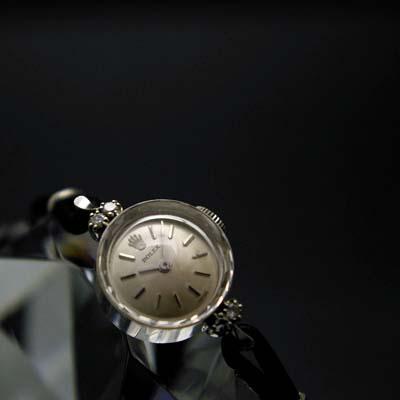 ロレックス プリズム風防 14Kホワイトゴールド ダイヤ装飾 レディースアンティークウオッチ