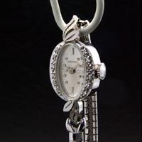 ロンジン ダイヤ装飾 14KWG アンティーク 手巻き レディースウオッチ 市松ブレスレット