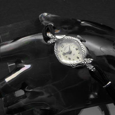 ハミルトン レディーハミルトン 菱形フェイス 14KWGケース ダイヤ装飾 レディースアンティークウオッチ