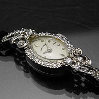 ハミルトン 24ポイントダイヤ装飾 アーモンドフェイス 14KWG アンティーク 手巻き レディースウオッチ