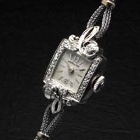 ハミルトン ボタニカルデザインラグ ダイヤ装飾 スクエア 10KWG アンティーク 手巻き レディースウオッチ