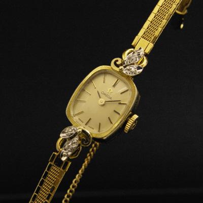 オメガ レクタングル14Kケース コンビ ダイヤ装飾 ゴールドダイアル レディースアンティークウオッチ