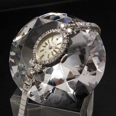 ハミルトン ダイヤ装飾 14KWGケース&ブレス アーモンドシェイプ アンティーク 手巻き レディースウオッチ
