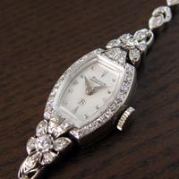 ハミルトン ダイヤ装飾 14KWGケース&ブレス 樽形 アンティーク 手巻き レディースウオッチ 分解掃除済み