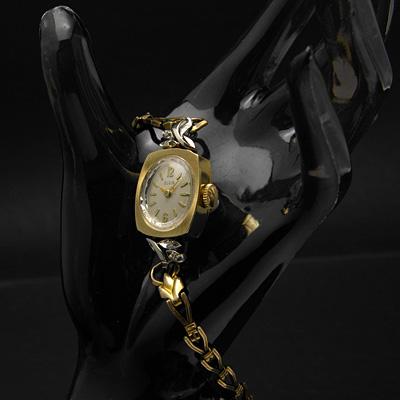 エルジン ダイヤ装飾 10KRGP 楕円文字盤 アンティーク 手巻き レディースウオッチ