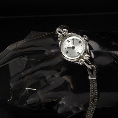 セイコー ソーラー ダイヤ装飾 WGP 円文字盤 メッシュブレスレット アンティーク 手巻き レディースウオッチ
