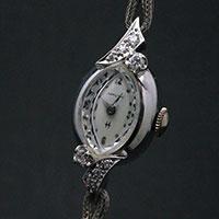 ハミルトン ダイヤ装飾 14KWGケース アーモンドシェイプ アンティーク 手巻き レディースウオッチ