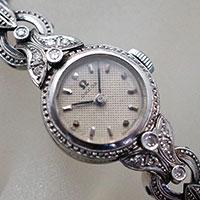 オメガ プラチナケース 石装飾 手巻き レディース アンティークウオッチ