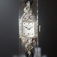 ハミルトン ダイヤ装飾 10KWGケース スクエアシェイプ アンティーク レディースウオッチ